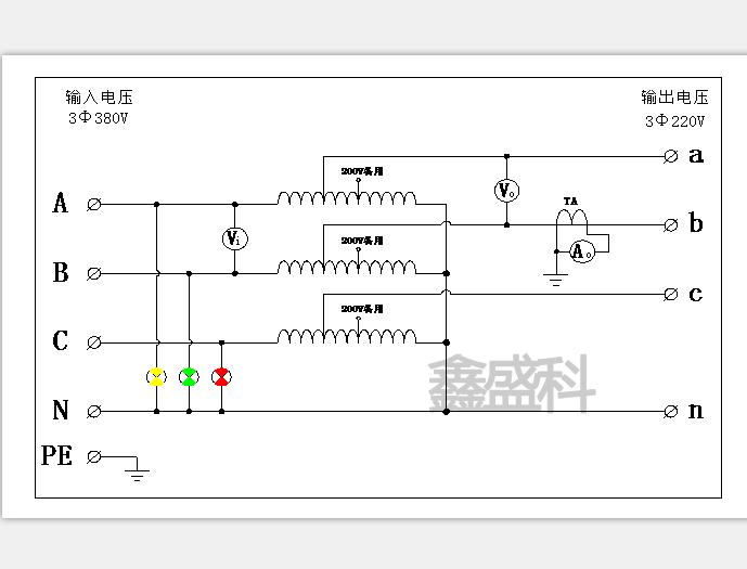 鑫盛科三相干式变压器接线图